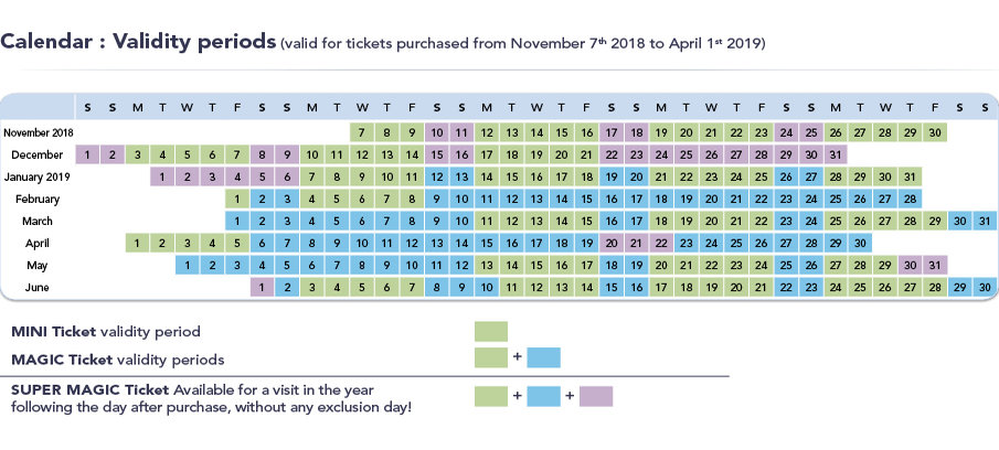 Disneyland Paris Ticket Seizoenskalender